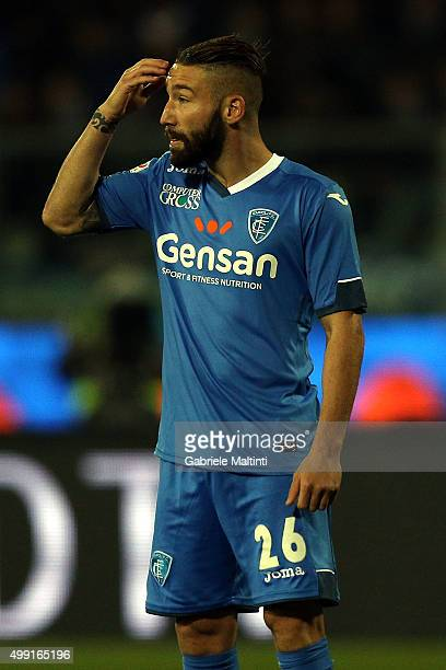 Lorenzo Tonelli of Empoli FC reacts during the Serie A match between Empoli FC and SS Lazio at Stadio Carlo Castellani on November 29 2015 in Empoli...