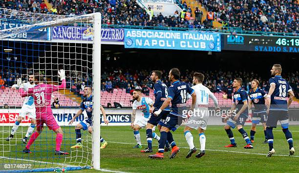 Lorenzo Tonelli scoring the 10 during the Italian Serie A match between SSC Napoli and Pescara at San Paolo Stadium in Naples Italy Jan 152017