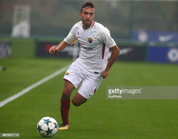 Lorenzo Valeau of AS Roma Under 19s during UEFA YouthLeague match between Chelsea Under 19s against AS Roma Under 19s at Cobham Training Ground...