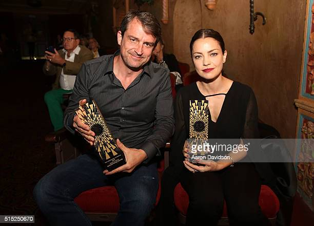 Lorenzo Vigas and Dolores Fonzi attends Miami International Film Festival 2016 closing night awards at Olympia Theater At Gusman Hall on March 12...
