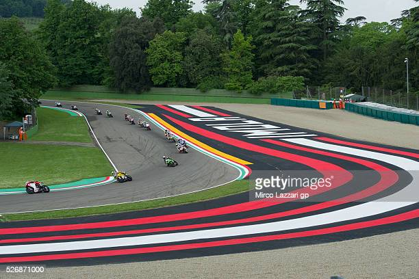 Lorenzo Zanetti of Italy and MV AGUSTA REPARTO CORSE leads the field during the Supersport race during the World Superbikes Race at Enzo Dino Ferrari...