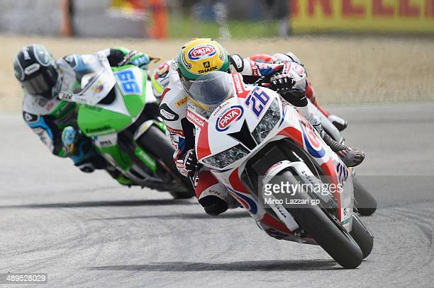 Lorenzo Zanetti of Italy and PATA Honda World Supersport Team leads the field during the Supersport race during the World Superbikes Race at Enzo...