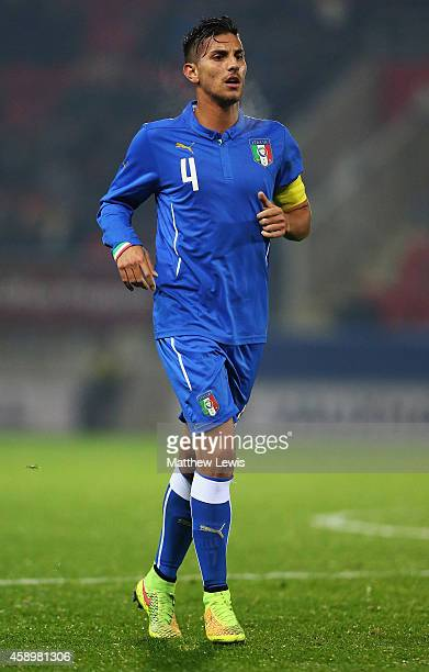 Lorenzon Pellegrini of Italy in action during the U19 International friendly match between England and Italy at The New York Stadium on November 14...