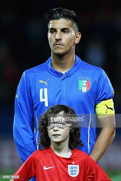 Lorenzon Pellegrini of Italy looks on ahead of the U19 International friendly match between England and Italy at The New York Stadium on November 14...