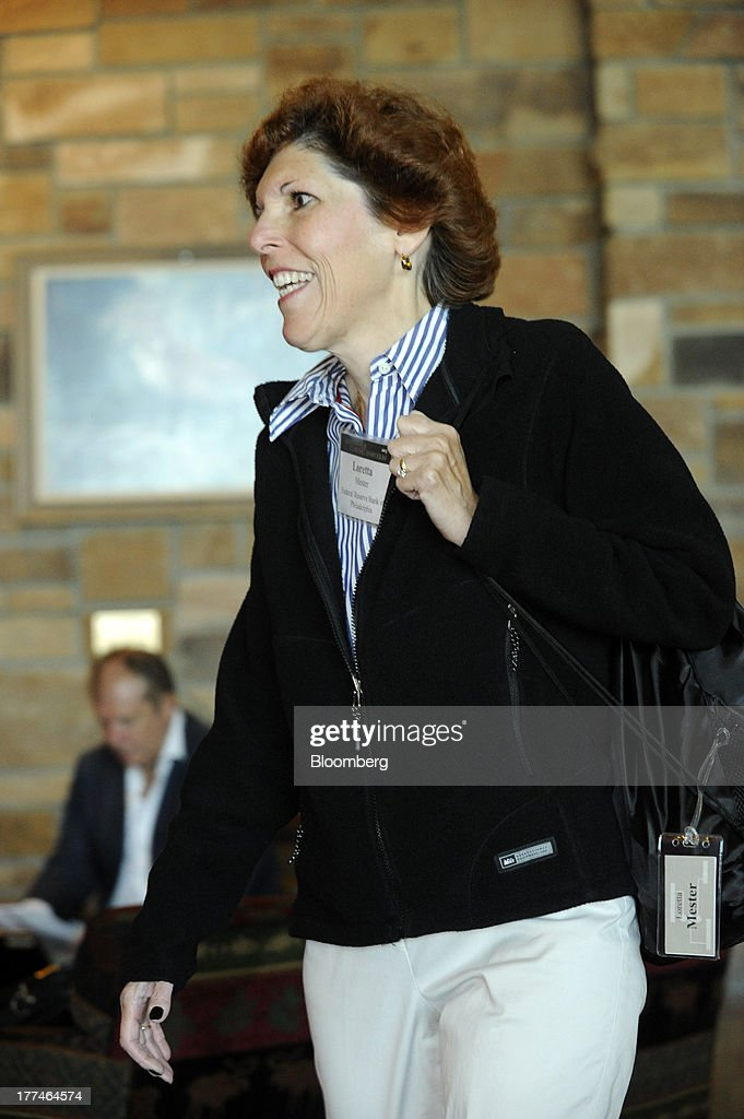 Loretta J. Mester, executive vice president of the Federal Reserve Bank of Philadelphia, arrives at the Jackson Hole economic symposium, sponsored by the Kansas City Federal Reserve Bank at the Jackson Lake Lodge in Moran, Wyoming, U.S., on Friday, Aug. 23, 2013. The U.S. central banks bond buying is a less potent tool for stimulating growth than policy makers believe, two economists said in a paper released today at a Federal Reserve conference. Photographer: Price Chambers/Bloomberg via Getty Images