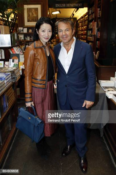 Loretta Lazar and Doctor Bertrand Matteoli attend Bertrand Matteoli Signing Book 'Bien Dans Sa Peau' at Librairie Galignali on March 18 2017 in Paris...