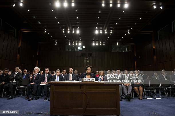 Loretta Lynch listens during her confirmation hearing before the Senate Judiciary Committee January 28 2015 in Washington DC Loretta Lynch a...