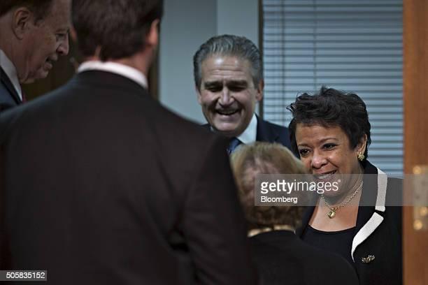 Loretta Lynch US attorney general right Senator Barbara Mikulski a Democrat from Maryland center and Senator Richard Shelby a Republican from Alabama...