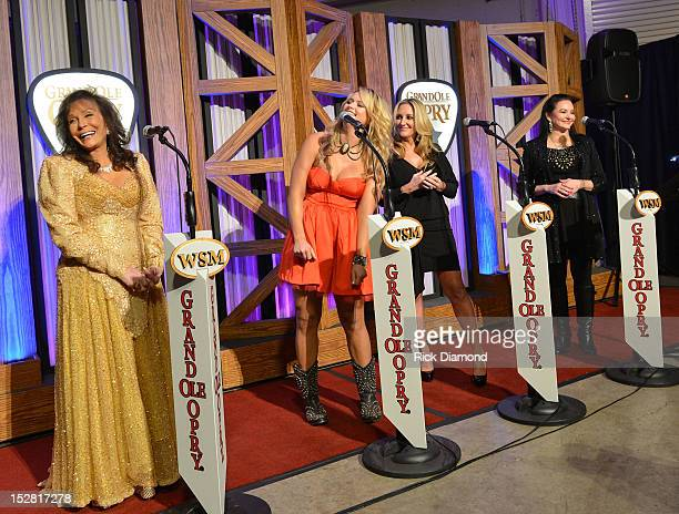 Loretta Lynn Miranda Lambert Lee Ann Womack and Crystal Gayle attend the press conference for the celebration of Loretta Lynn's 50th Opry Anniversary...