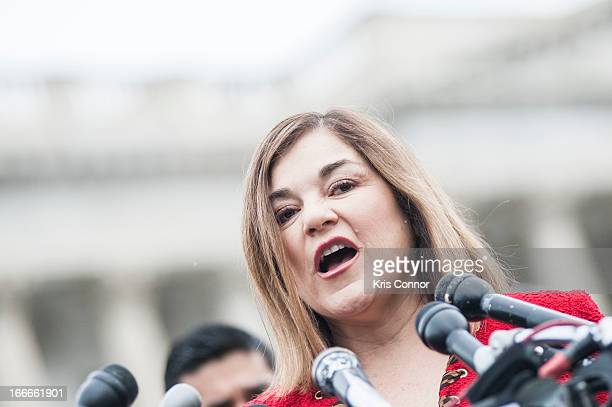 Loretta Sanchez speaks during the I'm Ready for Immigration Reform campaign press conference at the House Triangle on April 15 2013 in Washington DC