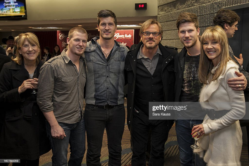 Lori Hartigan, Bryan Rempel, Brad Rempel, Phil Vassar, Curtis Rempel, and Teddie Bonadies attend the Country Radio Hall Of Fame cocktail party during CRS 2013 at the Nashville Convention Center on February 26, 2013 in Nashville, Tennessee.