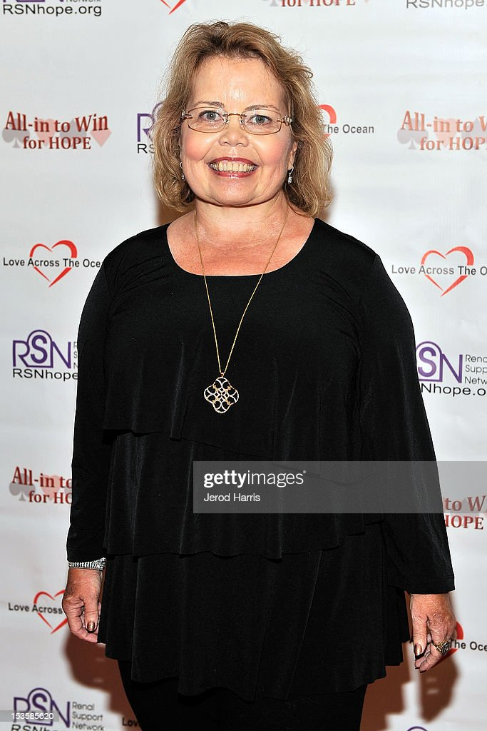 Lori Hartwell Founder and CEO of the Renal Support Network arrives at 'In To Win For Hope' No Limit Texas Hold'em Celebrity Charity Poker Tournament at Commerce Casino on October 6, 2012 in City of Commerce, California.