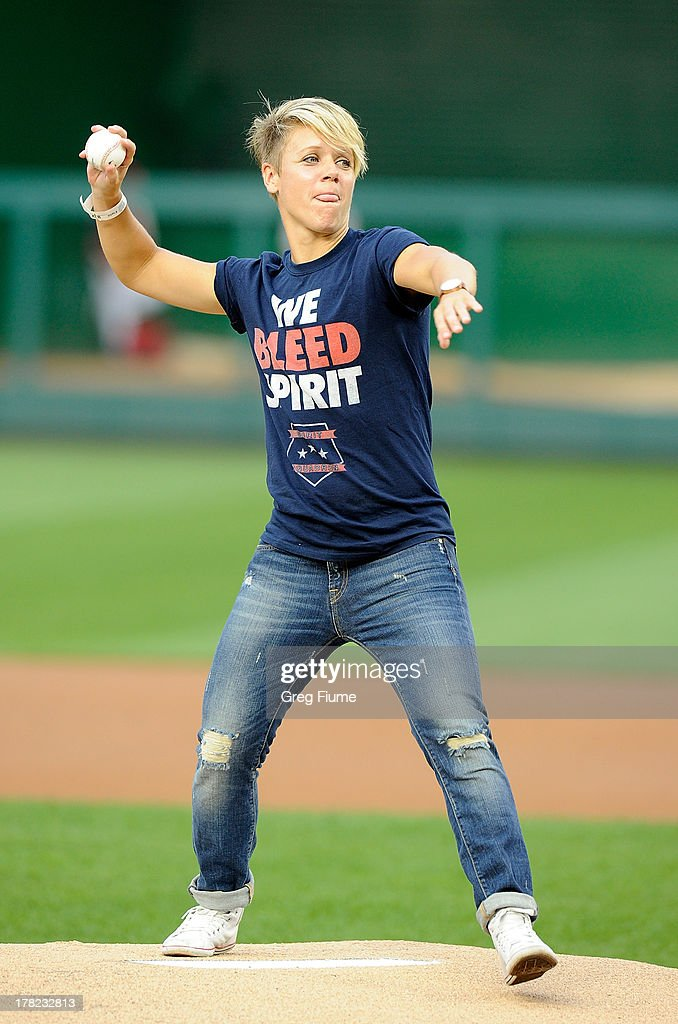 <a gi-track='captionPersonalityLinkClicked' href=/galleries/search?phrase=Lori+Lindsey&family=editorial&specificpeople=2293950 ng-click='$event.stopPropagation()'>Lori Lindsey</a> throws out the opening pitch before the game between the Washington Nationals and the Miami Marlins at Nationals Park on August 27, 2013 in Washington, DC.