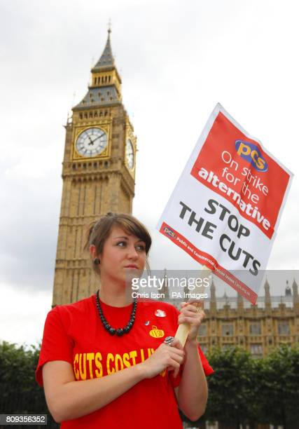 Lori Malone from the PCS Parliamentary Group on a picket line outside the Houses of Parliament in central London