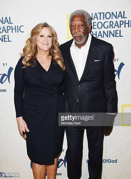 Lori McCreary and Morgan Freeman attend National Geographic 'The Story Of God' With Morgan Freeman World Premiere at Jazz at Lincoln Center on March...