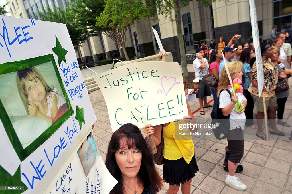 Lori Richards, of Daytona Beach, protests the Casey Anthony verdict outside of the Orange County Courthouse July 7, 2011 in Orlando, Florida. Anthony was acquitted of murder charges on July 5, 2011 but will serve four, one-year sentences on her conviction on July 7 of lying to a law enforcement officer. She will be credited for the nearly three-years of time served and good behavior and will reportedly be released July 13.