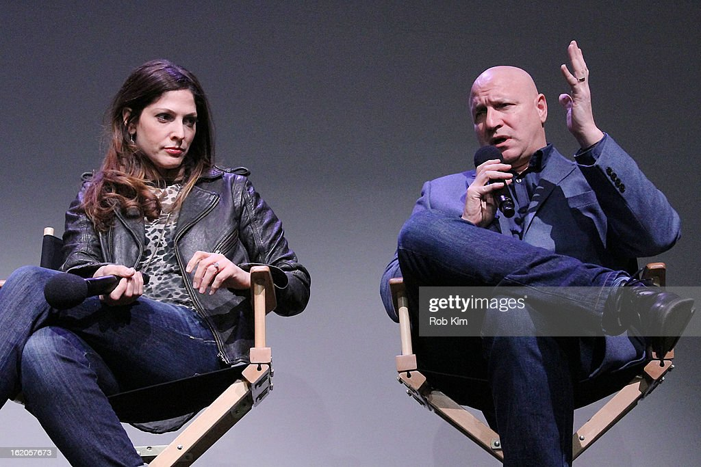 Lori Silverbush and <a gi-track='captionPersonalityLinkClicked' href=/galleries/search?phrase=Tom+Colicchio&family=editorial&specificpeople=4167072 ng-click='$event.stopPropagation()'>Tom Colicchio</a> attend Apple Store Soho Presents: Meet The Filmmakers - 'A Place At The Table' at Apple Store Soho on February 18, 2013 in New York City.