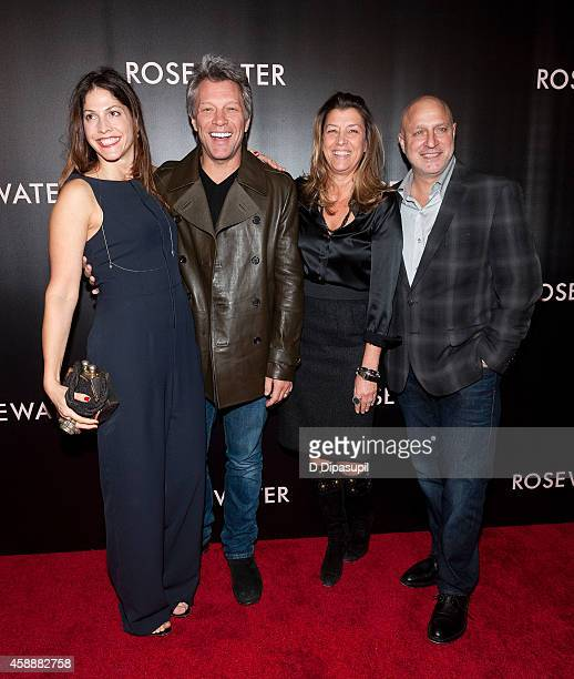 Lori Silverbush Jon Bon Jovi Dorothea Hurley and Tom Colicchio attend the 'Rosewater' New York Premiere at AMC Lincoln Square Theater on November 12...
