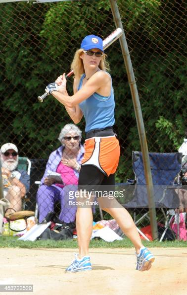 Lori Singer attends the 2014 East Hampton Artists Writers Celebrity Softball Game at Herrick Park on August 16 2014 in East Hampton New York