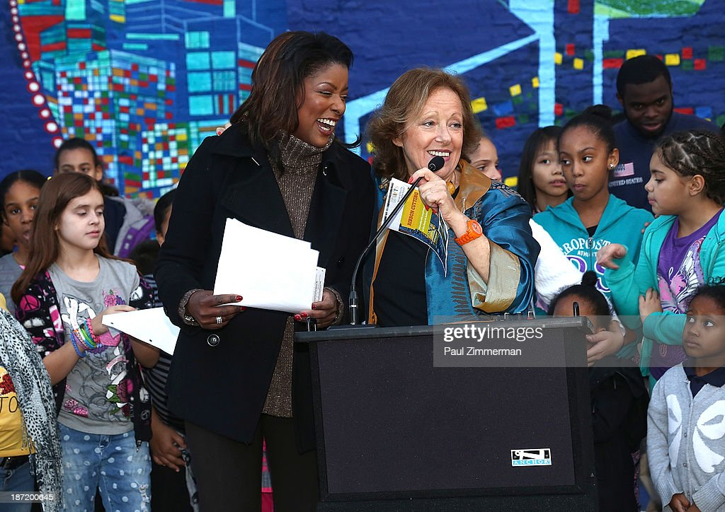Lori Stokes (L) and Executive and Creative Director of CITYarts, Inc., Tsipi Ben-Haim attend the CityArts & Disney 'Celebrating The Heros Of Our City' Mural Ribbon Cutting at Henry M. Jackson Playground on November 6, 2013 in New York City.