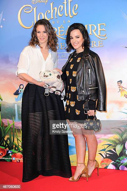 Lorie and Alizee attend the 'Tinkerbell and The Legend of the Neverbeast' Paris Premiere at Gaumont Champs Elysees on March 20 2015 in Paris France