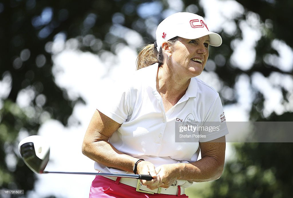 Lorie Kane of Canada watches her tee shot during day two of the ISPS Handa Australian Open at Royal Canberra Golf Club on February 15, 2013 in Canberra, Australia.