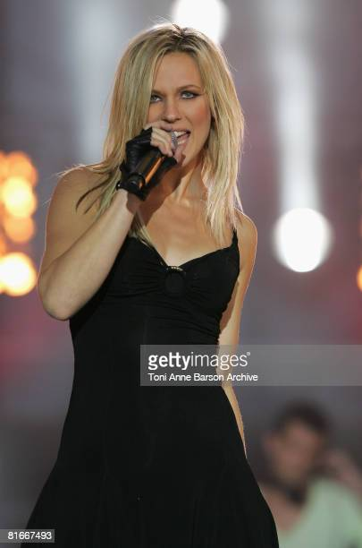 Lorie performs at the France 2 Television's 'Fete de la Musique' at the Auteuil Horse track on June 21 in Paris France