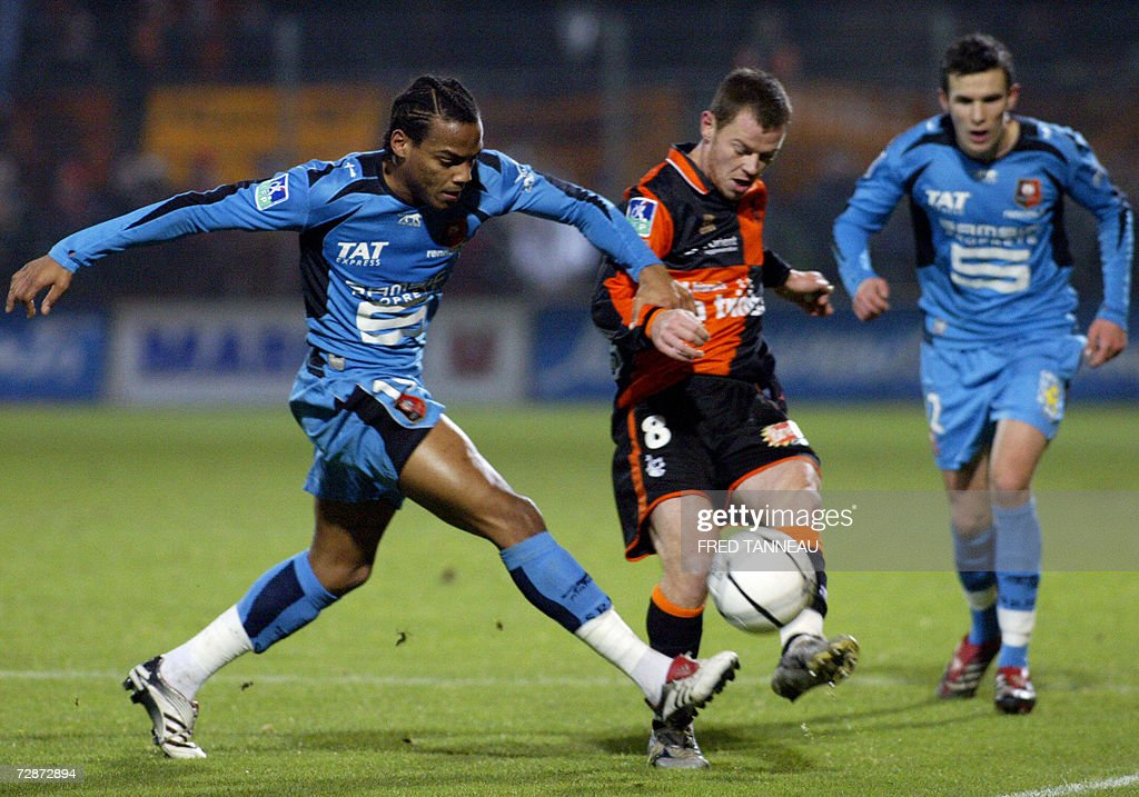 Lorientus midfielder guillaume moullec c vies with rennesu for Lorient match