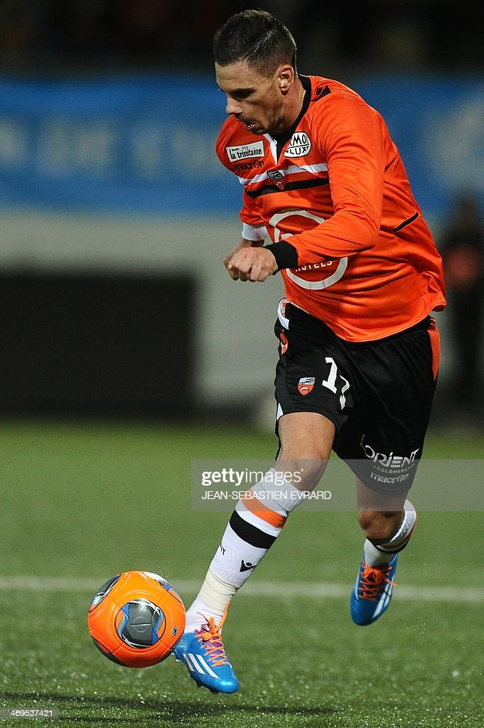 Lorient French forward Jeremie Aliadiere controls the ball during the French L1 football match between Lorient and Toulouse on February 15, 2014 at the Moustoir stadium in Lorient, western France.