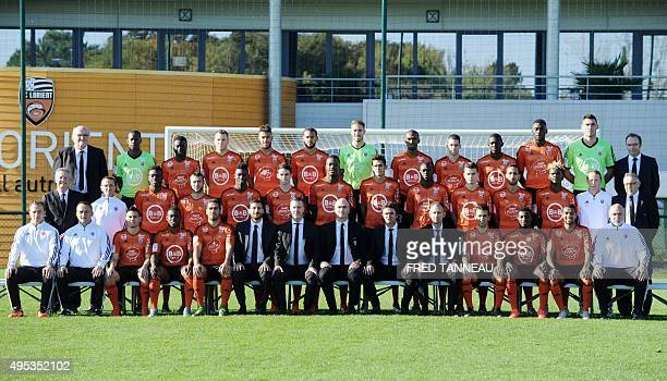 Lorient's football team and staff French physical assistant Florian Simon French assistant coach Franck Haise FrenchPortuguese defender Raphael...