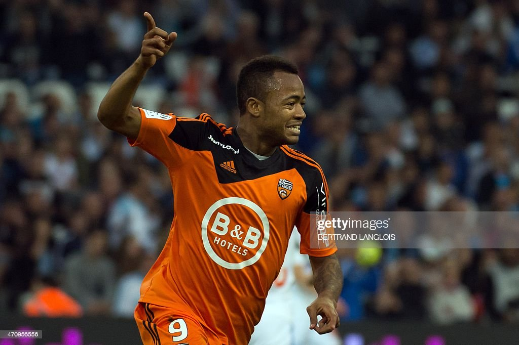 Lorient's forward Jordan Ayew celebrates after scoring a goal during the French L1 football match between Marseille and Lorient on April 24 2015 at...