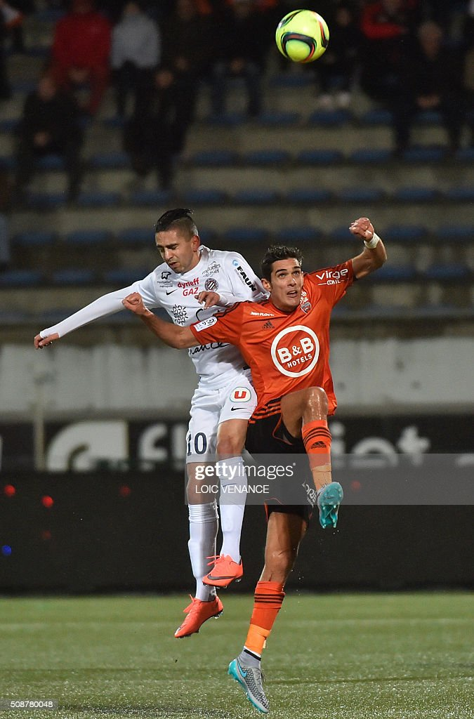 Lorient's French defender Francois Bellugou (R) vies with Montpellier's French forward Ryad Boudebouz during the French L1 football match Lorient vs Montpellier on February 6, 2016 at the Moustoir stadium in Lorient, western France. AFP PHOTO / LOIC VENANCE / AFP / LOIC VENANCE