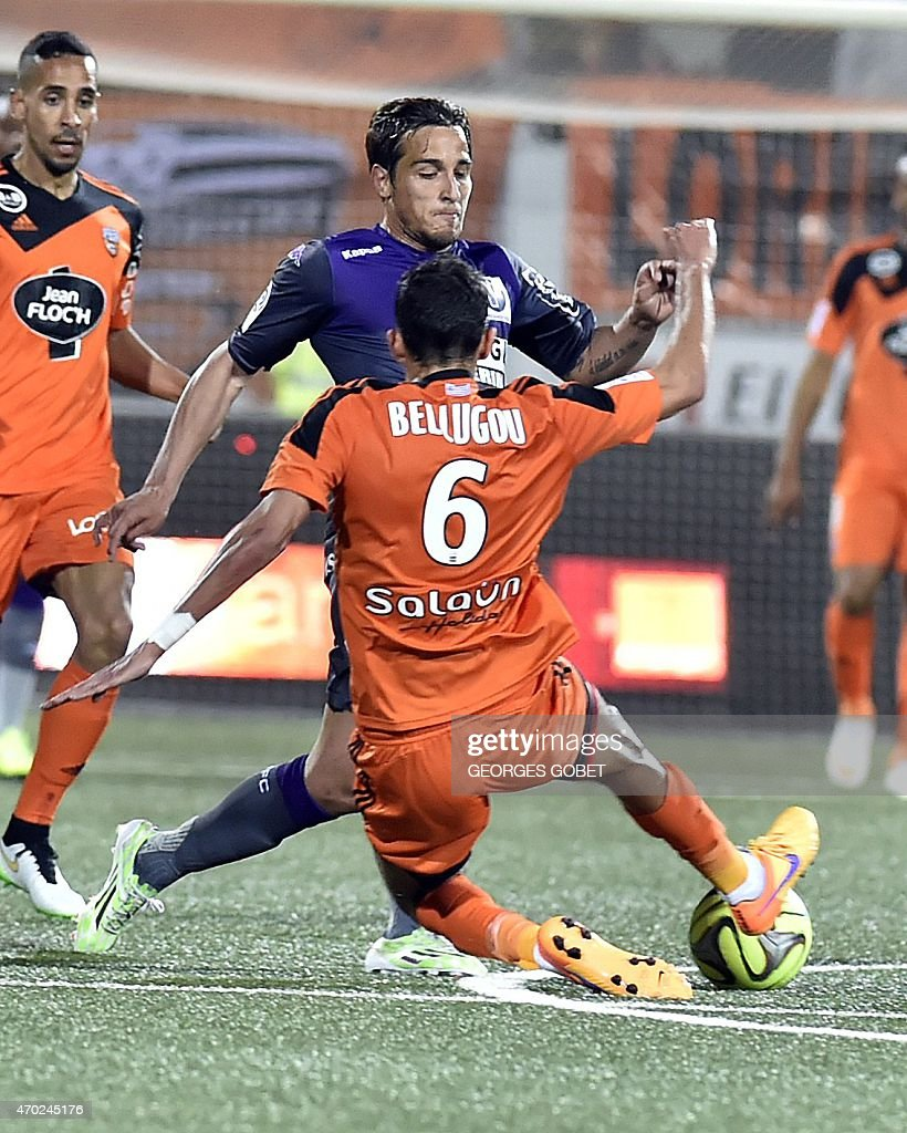 Lorient 39 s french defender francois bellugou r vies with for Lorient match