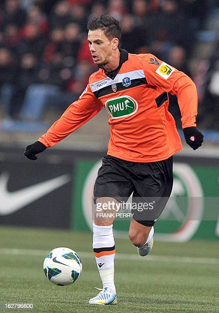 Lorient's French forward Jeremie Aliadiere controls the ball during the French Cup football match Lorient vs Brest on February 27 2013 at the Stadium...