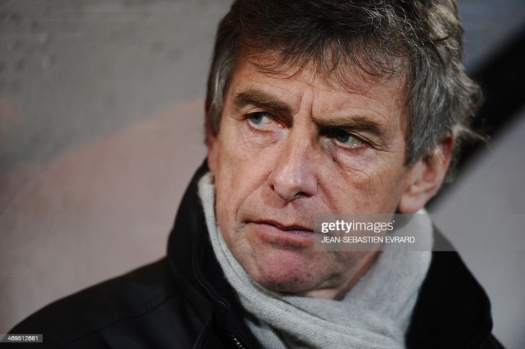 Lorient's French head coach Christian Gourcuff looks on before the start of the French L1 football match between Lorient and Toulouse on February 15, 2014 at the Moustoir stadium in Lorient, western France.