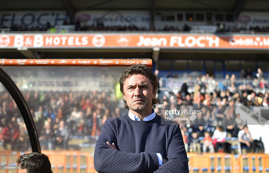 Lorient's French head coach Sylvain Ripoll waits for the beginning of the French L1 football match Lorient vs Lille at the Moustoir stadium in Lorient, western France, on April 30, 2016.