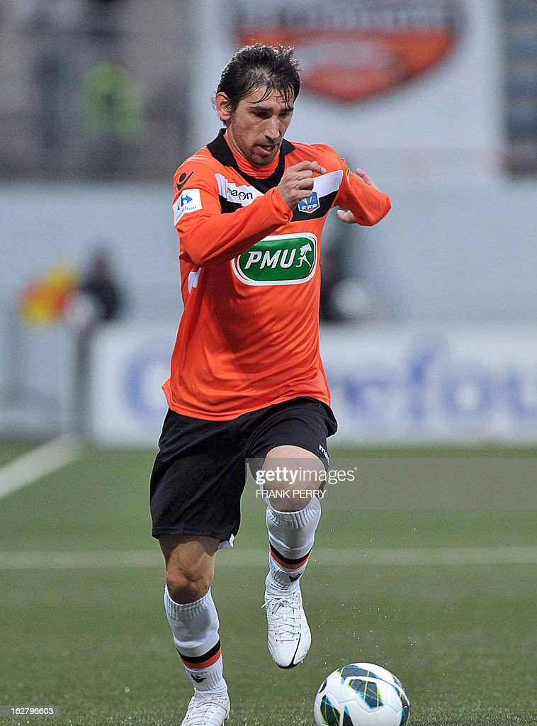 Lorient's Portuguese defender Pedrinho controls the ball during the French Cup football match Lorient vs Brest, on February 27, 2013 at the Stadium of Moustoir in Lorient, western France.