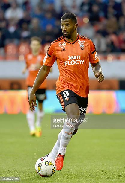 Lorient's Portuguese midfielder Carlos Miguel Cafu controls the ball during the French L1 football match Lorient vs Lille at the Moustoir Stadium in...