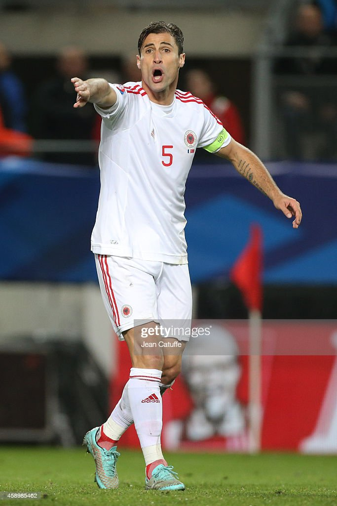 <a gi-track='captionPersonalityLinkClicked' href=/galleries/search?phrase=Lorik+Cana&family=editorial&specificpeople=662499 ng-click='$event.stopPropagation()'>Lorik Cana</a> of Albania reacts during the international friendly match between France and Albania at Stade de la Route de Lorient stadium on November 14, 2014 in Rennes, France.