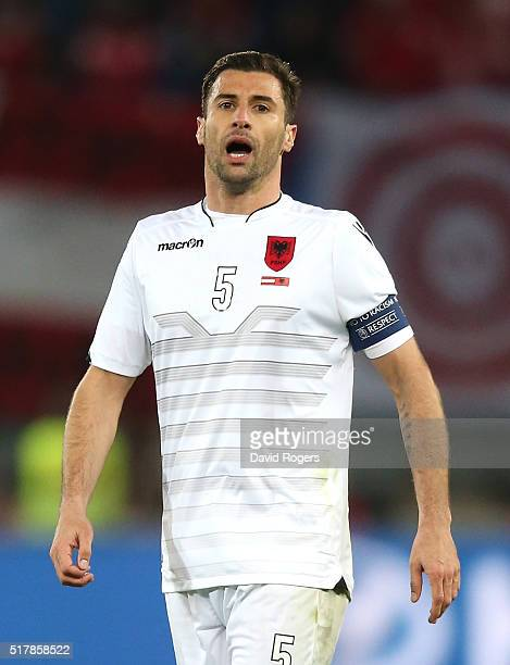 Lorik Cana of Albania shouts instructions during the international friendly match between Austria and Albania at the Ernst Happel Stadium on March 26...