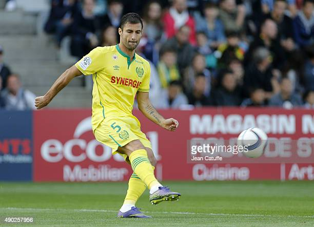 Lorik Cana of Nantes in action during the French Ligue 1 match between FC Nantes and Paris SaintGermain at Stade de la Beaujoire on September 26 2015...