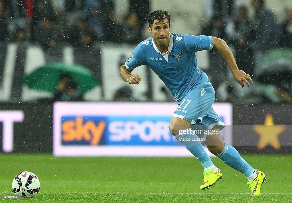 <a gi-track='captionPersonalityLinkClicked' href=/galleries/search?phrase=Lorik+Cana&family=editorial&specificpeople=662499 ng-click='$event.stopPropagation()'>Lorik Cana</a> of SS Lazio in action during the Serie A match between Juventus FC and SS Lazio at Juventus Arena on April 18, 2015 in Turin, Italy.
