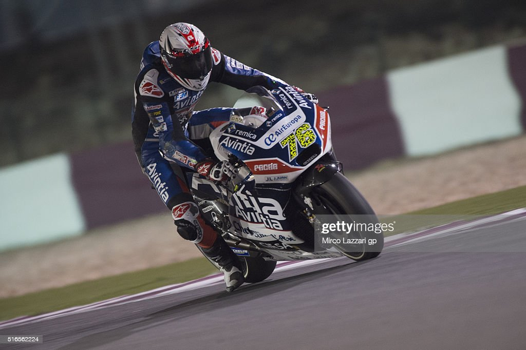 Loris Baz of France and Avintia Racing heads down a straight during the qualifying practice during the MotoGp of Qatar - Qualifying at Losail Circuit on March 19, 2016 in Doha, Qatar.