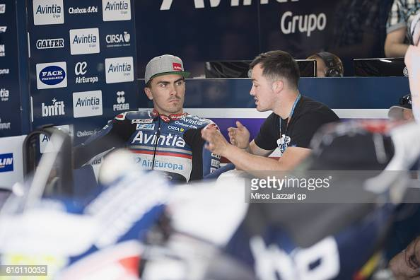 Loris Baz of France and Avintia Racing looks on in box during the qualifying practice during the MotoGP of Spain Qualifying at Motorland Aragon...