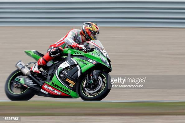 Loris Baz of France on the Kawasaki ZX10R for Kawasaki Racing Team competes during the World Superbikes Practice Session at TT Circuit Assen on April...