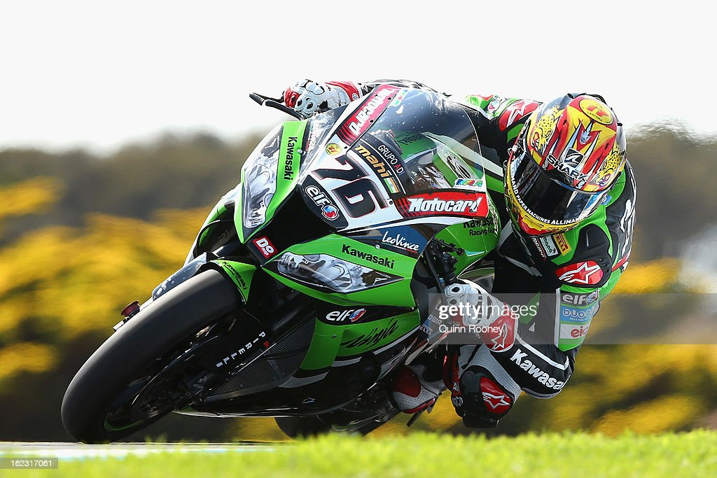 Loris Baz of France riding the #76 Kawasaki RacingTeam during free practice ahead of the World Superbikes at Phillip Island Grand Prix Circuit on February 22, 2013 in Phillip Island, Australia.
