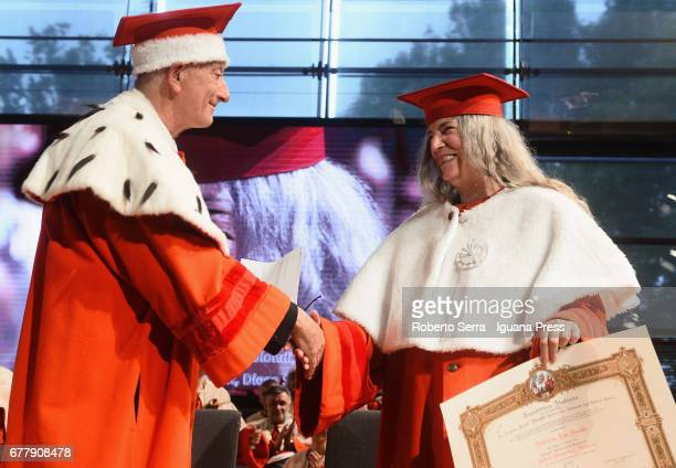 Loris Borghi the Rector of the Parma's University confers to American musician and authoress Patti Smith an honorary degree in Literature at...