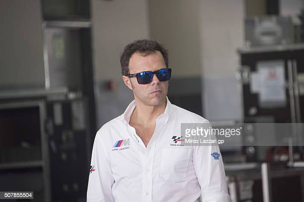 Loris Capirossi of Italy and Dorna FIM Security Commission looks on in box during the MotoGP Tests In Sepang at Sepang Circuit on February 1 2016 in...