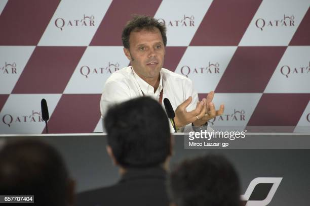 Loris Capirossi of Italy and Dorna FIM Security Commission speaks during the press conference during the MotoGp of Qatar Qualifying at Losail Circuit...