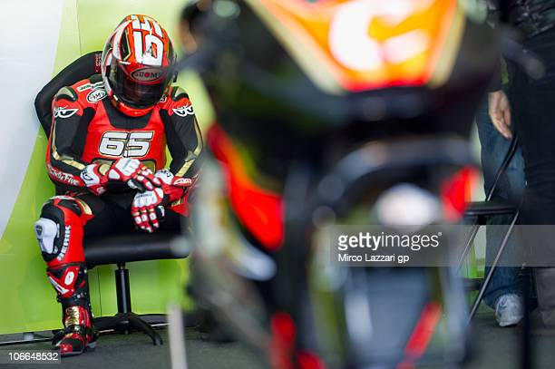 Loris Capirossi of Italy and Pramac Green Energy Team prepares to start in box during the first test of 2011 season at Ricardo Tormo Circuit on...